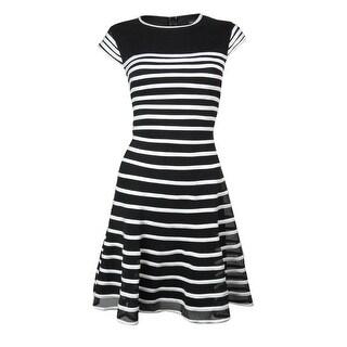 Betsy & Adam Women's Mesh Striped Flare Dress
