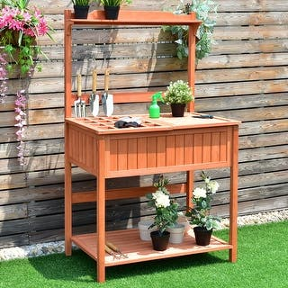 Potting tables for less overstock costway potting work station table bench wood garden patio deck outdoor planting workwithnaturefo