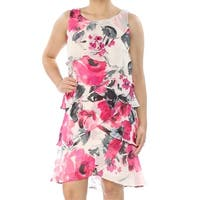 SLNY Womens Ivory Floral Sleeveless Scoop Neck Above The Knee Layered Dress  Size: 4