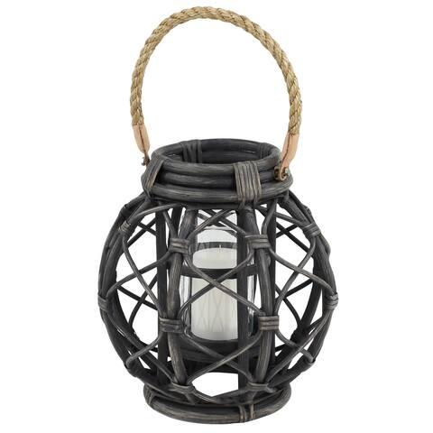Large Round Woven Black Rattan Decorative Lantern - 12 x 12 x 12Round