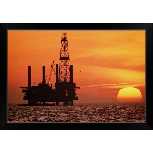 """Silhouette of oil exploration platform, Gulf of Mexico, sunset"" Black Framed Print"