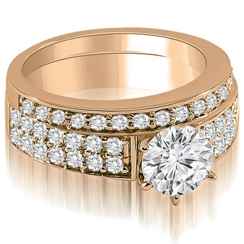 1.45 cttw. 14K Rose Gold Cathedral Two Row Round Diamond Bridal Set