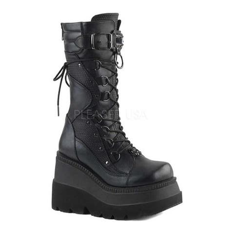 Demonia Women's Shaker 70 Lace-Up Boot Black Vegan Leather