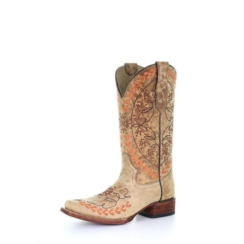 Circle G Western Boot Womens Square Toe Aztec Embroidery Pull On
