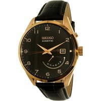 Seiko Men's SRN054 Black Calf Skin Seiko Kinetic Dress Watch
