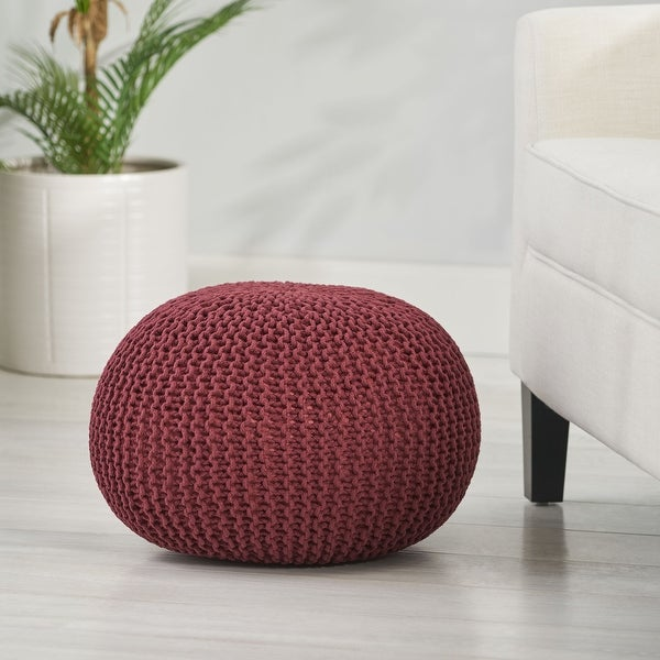 Abena Knitted Cotton Pouf by Christopher Knight Home. Opens flyout.