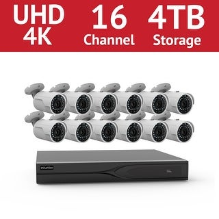 LaView 16 Channel UHD 4K IP NVR with (12) 4MP Bullet Cameras and a 4TB HDD