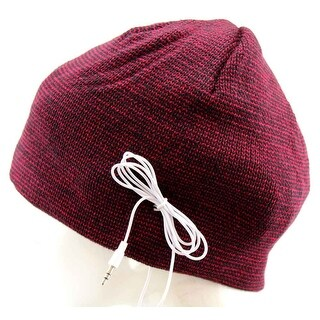 Urban Pipeline Beanie Knit Winter Hat with Headphones Striped Red-Black - One size