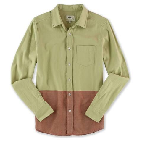 Ecko Unltd. Mens LS Woven Button Up Shirt, Beige, X-Small