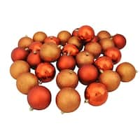 "32ct Burnt Orange Shatterproof 4-Finish Christmas Ball Ornaments 3.25"" (80mm)"