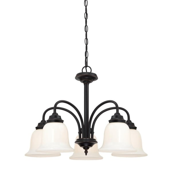 """Westinghouse 6304200 Harwell 5-Light 22-5/8"""" Wide Single Tier Shaded Chandelier with Glass Shades - Amber Bronze"""
