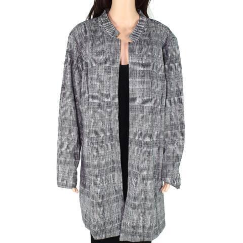 Alfani Women's Topper Jacket Black White Size 16W Plus Gwen Plaid