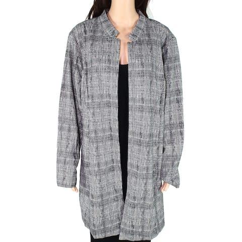 Alfani Womens Jacket Ink Black Size 18W Plus Stand-Collar Printed