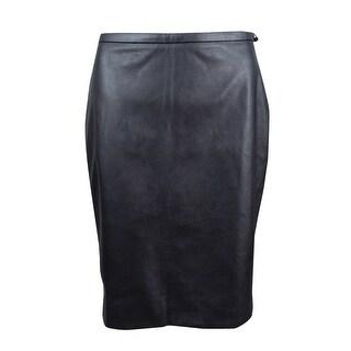 Tommy Hilfiger Women's Faux-Leather Straight Skirt - Gunmetal