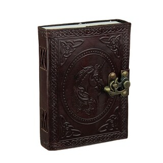 Stunning Embossed Unicorn Leather Bound Blank Journal with 240 Unlined Pages