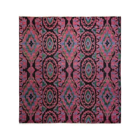 """Modern, One-of-a-Kind Hand-Knotted Area Rug - Purple, 8' 1"""" x 8' 5"""" - 8' 1"""" x 8' 5"""""""