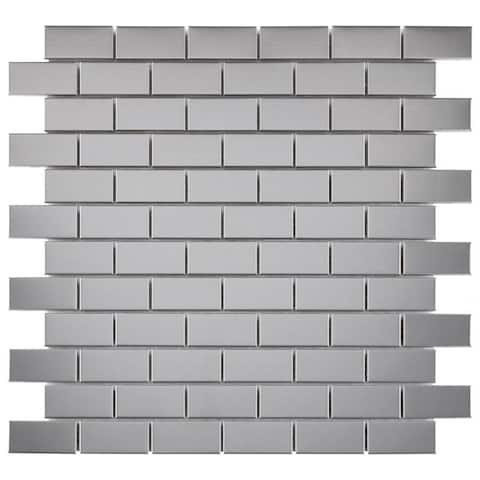 "SomerTile Alloy Subway 11-3/4"" x 11-3/4"" x 8 mm Stainless Steel Metal Over Porcelain Mosaic Tile (10 tiles/sqft.)"
