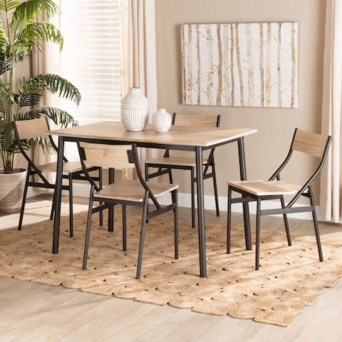 Carmen Modern and Contemporary Metal and Wood 5-Piece Dining Set-Oak