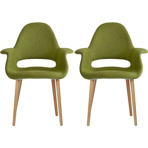 2xhome Set Of 2 Green Modern Organic Chairs With Arm