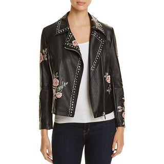 Bagatelle Womens Motorcycle Jacket Floral Studded - m