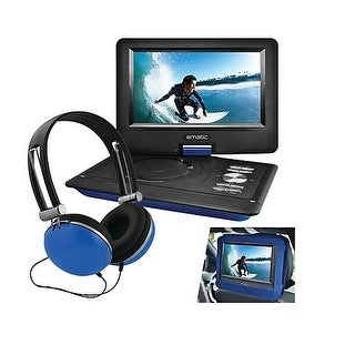 "Ematic Epd116bu 10"" Portable Dvd Player With Headphones And Car Headrest Mount Blue"