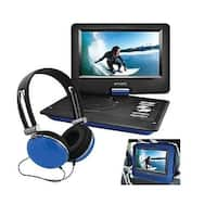 """Ematic Epd116bu 10"""" Portable Dvd Player With Headphones And Car Headrest Mount Blue"""