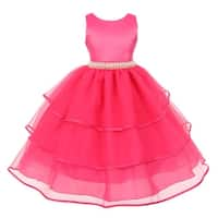 Chic Baby Girls Fuchsia Organza Overlaid Pearl Flower Girl Dress
