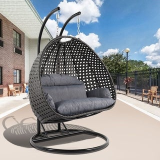 Link to LeisureMod Indoor Outdoor Wicker 2-person Hanging Swing Chair Similar Items in Hammocks & Swings