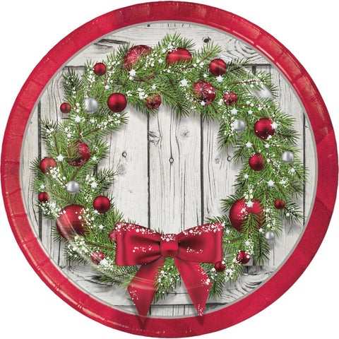 """Club Pack of 144 Apple Red and Green Rustic Wreath Dinner Plates 8.75"""""""