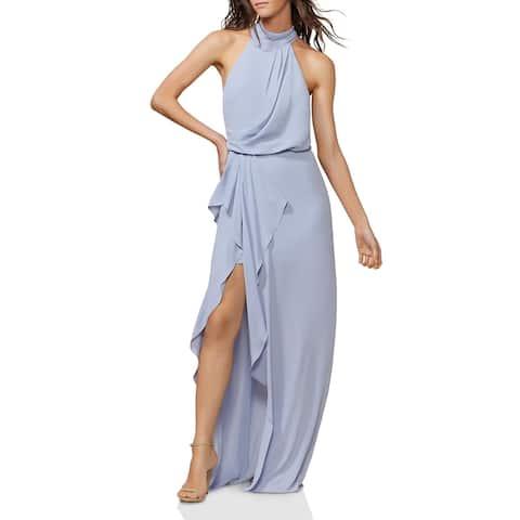 Halston Heritage Womens Wrap Dress Mock Neck Hi-Low