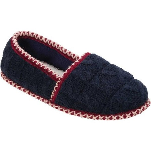 765322f6573 Dearfoams Women  x27 s Quilted Cable Knit Closed Back Slipper Peacoat  Acrylic