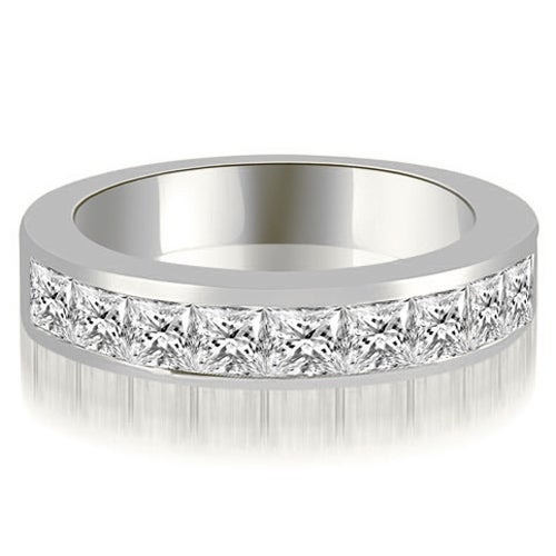 0.90 cttw. 14K White Gold Princess Diamond 9-Stone Channel Wedding Band
