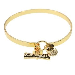 Women's Live Your Dream Graduate Brass Bracelet - 20K Gold Plated Charms