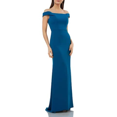 Carmen Marc Valvo Womens Evening Dress Off-The-Shoulder Sheath