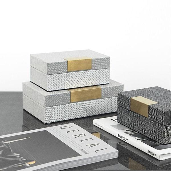 Elegant Fabric Cover Gold Metal Decorative Jewelry Box