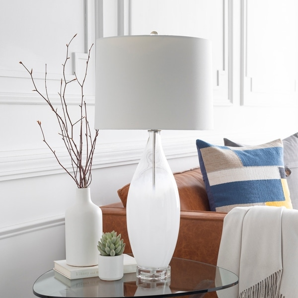 """Debi Painted Glass 28-inch Mid-Century Table Lamp - 13.5"""" x 13.5"""" x 28"""". Opens flyout."""