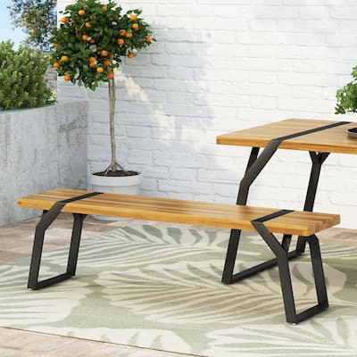 Varva Outdoor Acacia Wood Outdoor Dining Bench by Christopher Knight Home
