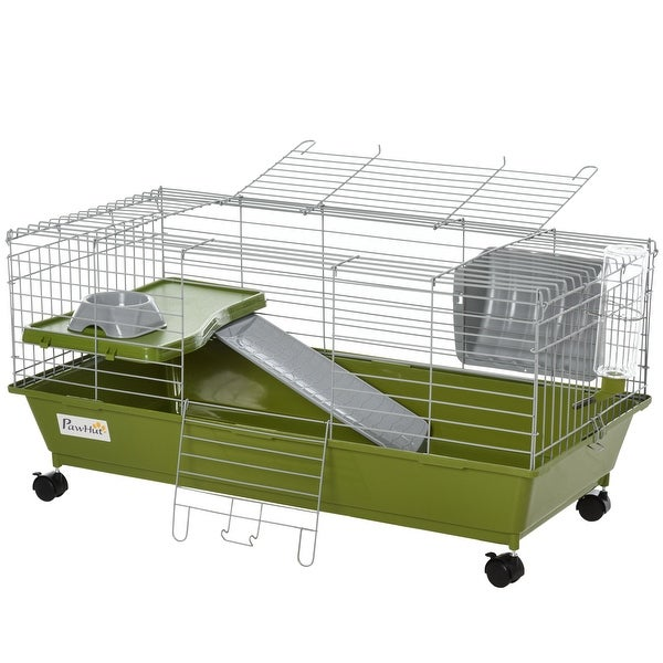 PawHut Small Animal Cage Rabbit Chinchilla Guinea Pig Hutch Pet House with Platform, Ramp, Food Dish, Water Bottle, Hay Feeder. Opens flyout.