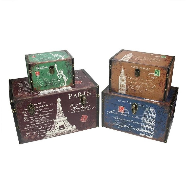 Set Of 4 Vintage Style Travel Themed Decorative Wooden Storage Boxes 23 5 N A