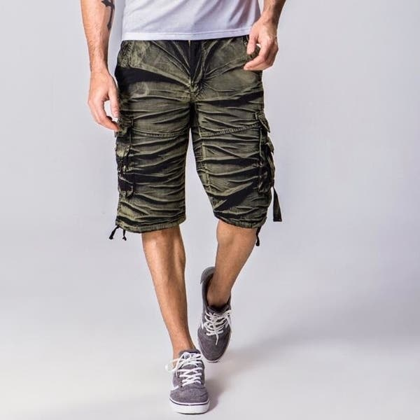 Mens Cargo Shirts Casual Elastic Waist Relaxed Fit Outdoor Summer Shorts with Pockets