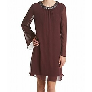 S.L. Fashions NEW Red Fig Women's Size 8 Embellished-Neck Shift Dress