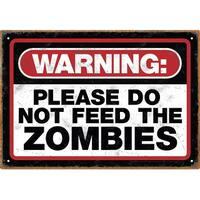 Zombie Warning Tin Sign - Multi
