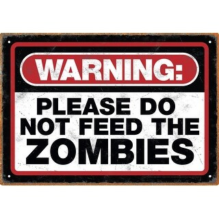Zombie Warning Tin Sign - Multi