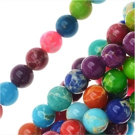 Impression Jasper Gemstone Beads, Round 4mm, 15 Inch Strand, Multi Color
