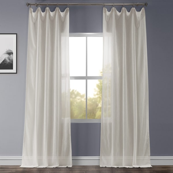 Exclusive Fabrics Gardenia Faux Linen Sheer Curtain Panel. Opens flyout.