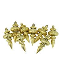 Shiny Gold Swirl Shatterproof Christmas Finial Ornaments