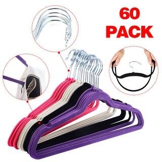 Costway 60PCS Non Slip Velvet Clothes Suit/Shirt/Pants Hangers White, Black, Purple,Red