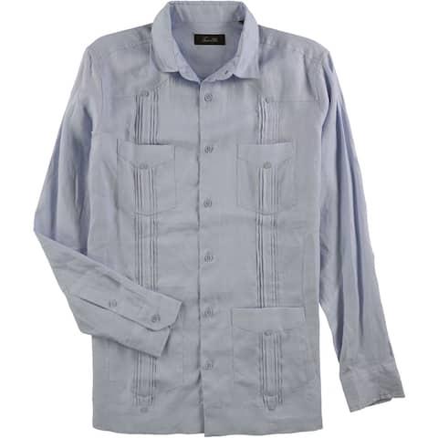 Tasso Elba Mens Linen Button Up Shirt, Blue, Small