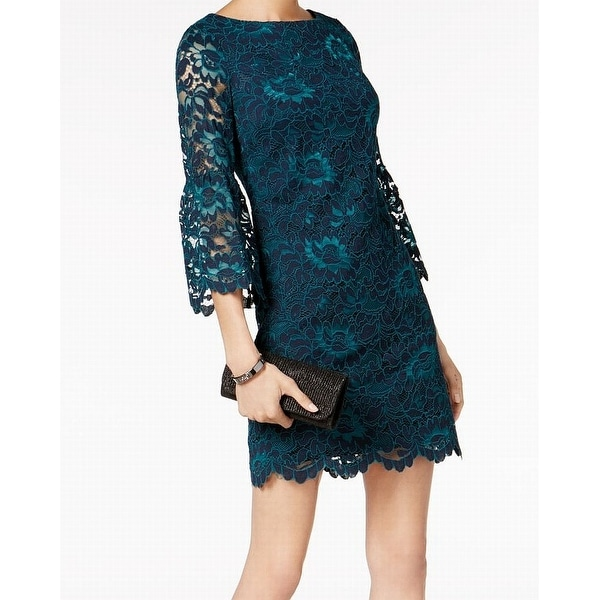 14f4f6df8072 Shop Jessica Howard Green Womens Size 10 Lace Bell-Sleeve Sheath Dress -  Free Shipping On Orders Over $45 - Overstock - 21955721