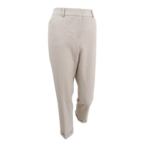 Tahari ASL Women's Cuffed Trousers - Beige/Ivory
